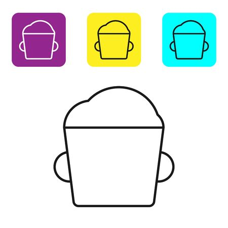 Black line Bakery bowl dough icon isolated on white background. Set icons colorful square buttons. Vector Illustration