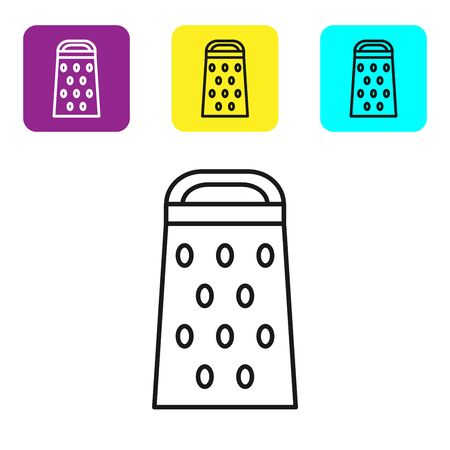 Black line Grater icon isolated on white background. Kitchen symbol. Cooking utensil. Cutlery sign. Set icons colorful square buttons. Vector Illustration Imagens - 134322083