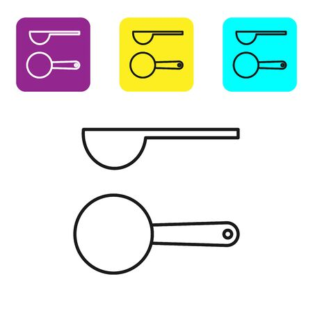 Black line Measuring spoon icon isolated on white background. Set icons colorful square buttons. Vector Illustration Ilustração