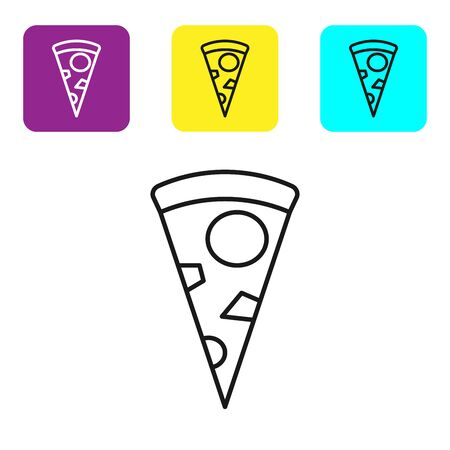Black line Slice of pizza icon isolated on white background. Set icons colorful square buttons. Vector Illustration