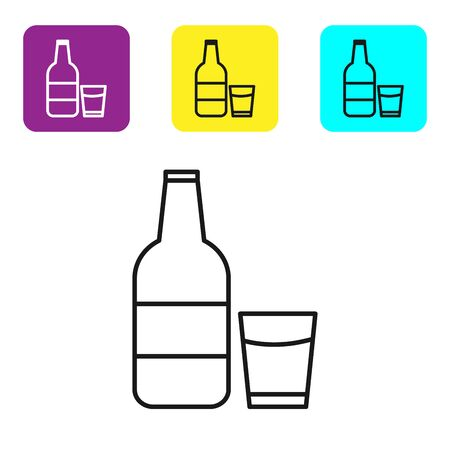 Black line Closed glass bottle with milk and glass icon isolated on white background. Set icons colorful square buttons. Vector Illustration 向量圖像