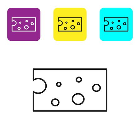 Black line Cheese icon isolated on white background. Set icons colorful square buttons. Vector Illustration