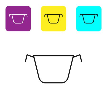 Black line Cooking pot icon isolated on white background. Boil or stew food symbol. Set icons colorful square buttons. Vector Illustration Stock fotó - 134322104