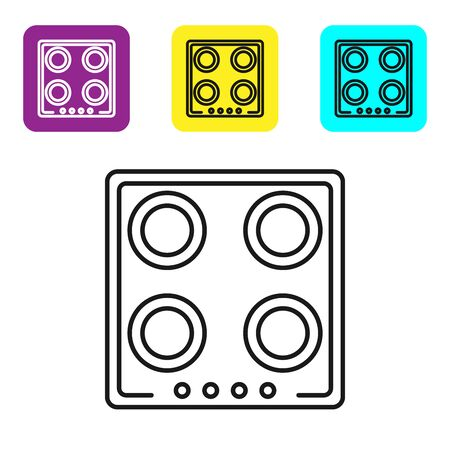 Black line Gas stove icon isolated on white background. Cooktop sign. Hob with four circle burners. Set icons colorful square buttons. Vector Illustration