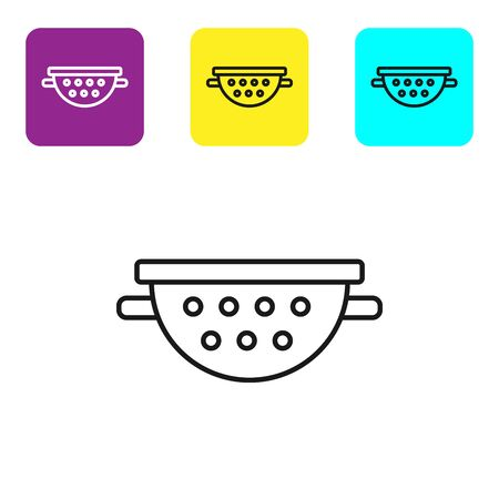 Black line Kitchen colander icon isolated on white background. Cooking utensil. Cutlery sign. Set icons colorful square buttons. Vector Illustration Imagens - 134322113