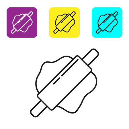 Black line Rolling pin icon isolated on white background. Set icons colorful square buttons. Vector Illustration Imagens - 134322117