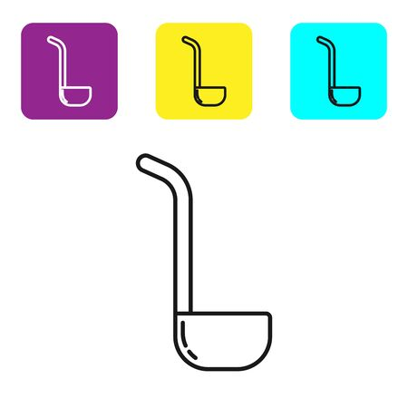 Black line Kitchen ladle icon isolated on white background. Cooking utensil. Cutlery spoon sign. Set icons colorful square buttons. Vector Illustration Ilustrace
