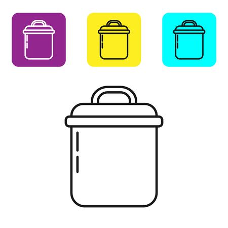 Black line Cooking pot icon isolated on white background. Boil or stew food symbol. Set icons colorful square buttons. Vector Illustration