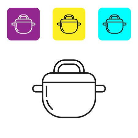 Black line Cooking pot icon isolated on white background. Boil or stew food symbol. Set icons colorful square buttons. Vector Illustration Stock fotó - 134322127
