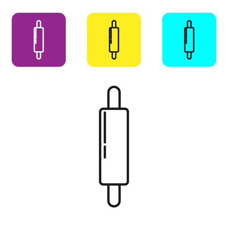 Black line Rolling pin icon isolated on white background. Set icons colorful square buttons. Vector Illustration