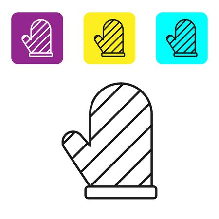 Black line Oven glove icon isolated on white background. Kitchen potholder sign. Cooking glove. Set icons colorful square buttons. Vector Illustration Illusztráció