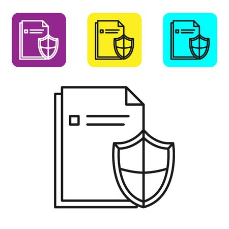 Black line Document protection concept icon isolated on white background. Confidential information and privacy idea, secure, guard, shield. Set icons colorful square buttons. Vector Illustration Stock fotó - 134322199