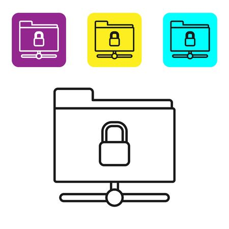 Black line FTP folder and lock icon isolated on white background. Concept of software update. Security, safety, protection concept. Set icons colorful square buttons. Vector Illustration