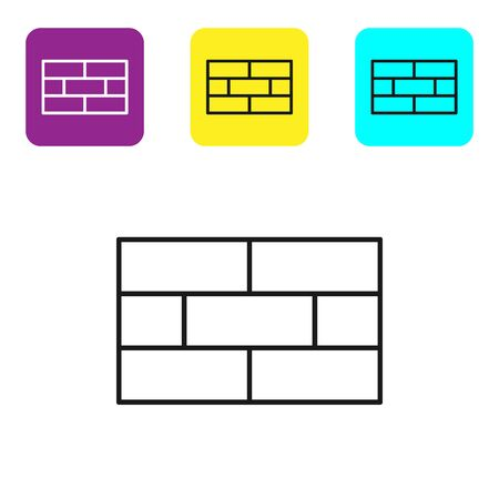 Black line Bricks icon isolated on white background. Set icons colorful square buttons. Vector Illustration