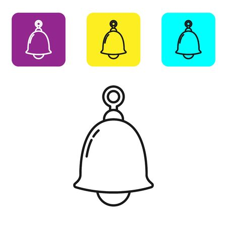 Black line Ringing bell icon isolated on white background. Alarm symbol, service bell, handbell sign, notification symbol. Set icons colorful square buttons. Vector Illustration Illustration
