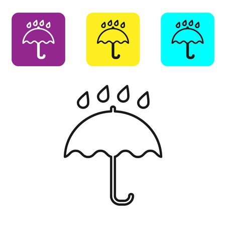 Black line Umbrella and rain drops icon on white background. Waterproof icon. Protection, safety, security concept. Water resistant symbol. Set icons colorful square buttons. Vector Illustration