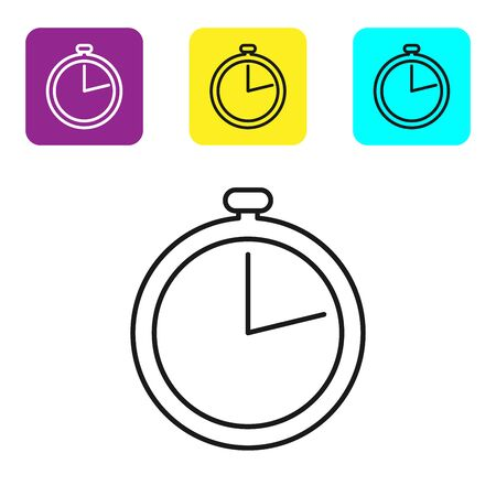 Black line Stopwatch icon isolated on white background. Time timer sign. Set icons colorful square buttons. Vector Illustration
