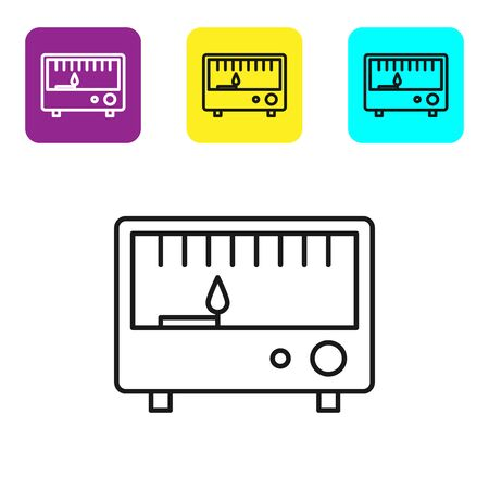 Black line Electrical measuring instruments icon isolated on white background. Analog devices. Electrical appliances. Set icons colorful square buttons. Vector Illustration