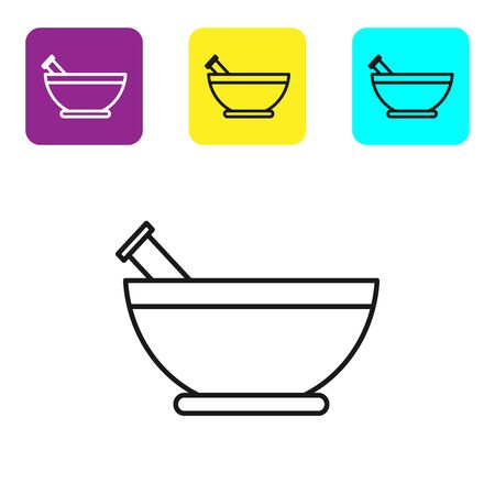 Black line Mortar and pestle icon isolated on white background. Set icons colorful square buttons. Vector Illustration