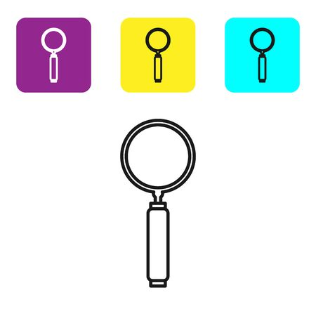 Black line Magnifying glass icon isolated on white background. Search, focus, zoom, business symbol. Set icons colorful square buttons. Vector Illustration