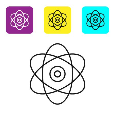 Black line Atom icon on white background. Symbol of science, education, nuclear physics, scientific research. Electrons and protons sign. Set icons colorful square buttons. Vector Illustration Illustration