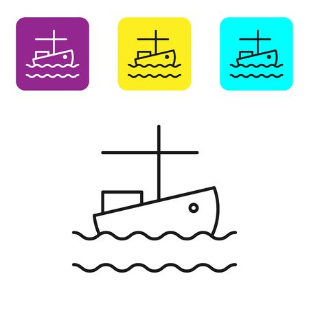 Black line Fishing boat on water icon isolated on white background. Set icons colorful square buttons. Vector Illustration