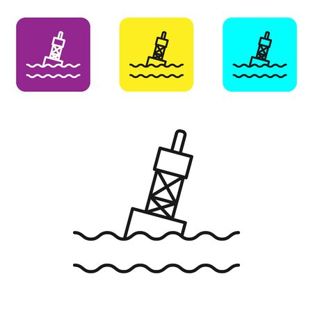 Black line Floating buoy on the sea icon isolated on white background. Set icons colorful square buttons. Vector Illustration