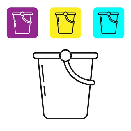 Black line Bucket icon isolated on white background. Set icons colorful square buttons. Vector Illustration Stock fotó - 134322429