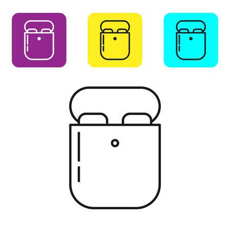 Black line Air headphones in box icon icon isolated on white background. Holder wireless in case earphones garniture electronic gadget. Set icons colorful square buttons. Vector Illustration