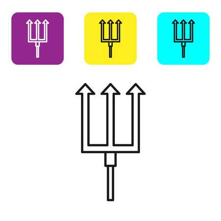 Black line Neptune Trident icon isolated on white background. Set icons colorful square buttons. Vector Illustration