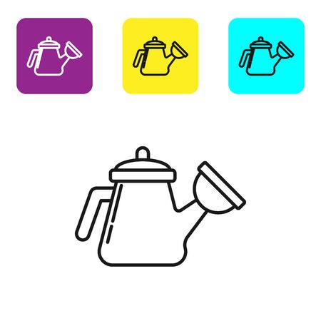 Black line Watering can icon isolated on white background. Irrigation symbol. Set icons colorful square buttons. Vector Illustration Stock fotó - 134323783