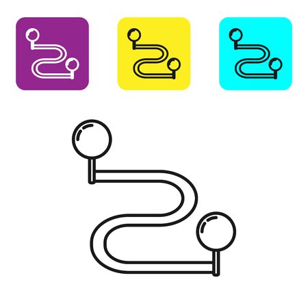 Black line Route location icon isolated on white background. Map pointer sign. Concept of path or road. GPS navigator. Set icons colorful square buttons. Vector Illustration