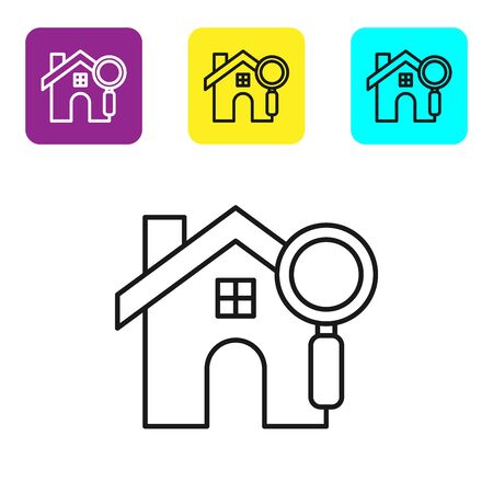 Black line Search house icon isolated on white background. Real estate symbol of a house under magnifying glass. Set icons colorful square buttons. Vector Illustration