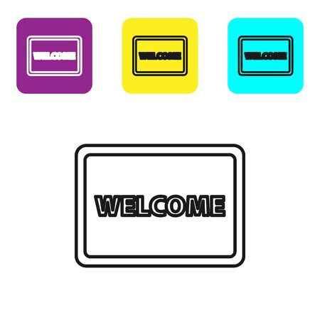 Black line Doormat with the text Welcome icon isolated on white background. Welcome mat sign. Set icons colorful square buttons. Vector Illustration