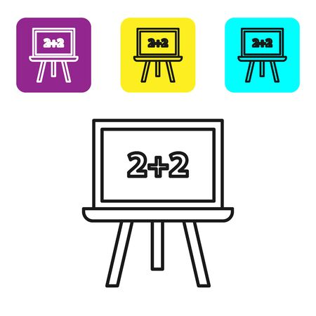 Black line Chalkboard icon isolated on white background. School Blackboard sign. Set icons colorful square buttons. Vector Illustration