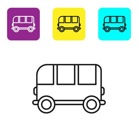 Black line School Bus icon isolated on white background. Set icons colorful square buttons. Vector Illustration