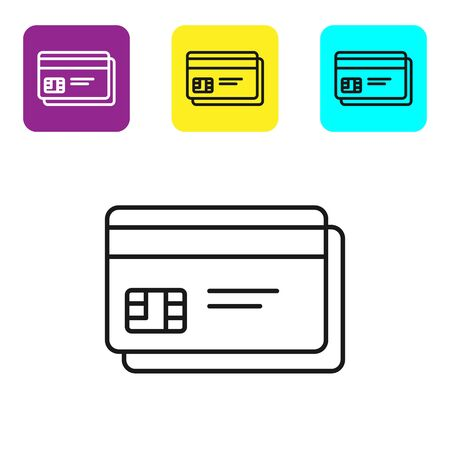 Black line Credit card icon isolated on white background. Online payment. Cash withdrawal. Financial operations. Shopping sign. Set icons colorful square buttons. Vector Illustration