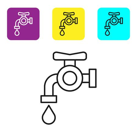Black line Water tap icon isolated on white background. Set icons colorful square buttons. Vector Illustration