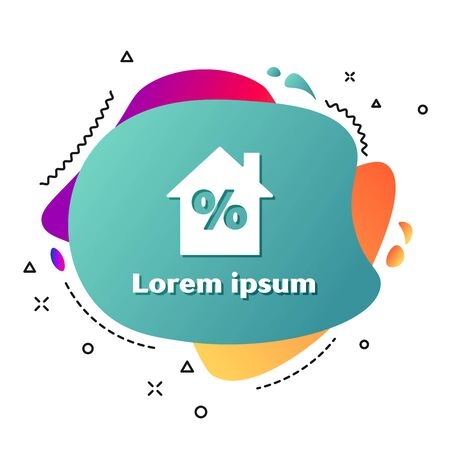 White House with percant discount tag icon isolated on white background. House percentage sign price. Real estate home. Abstract banner with liquid shapes. Vector Illustration