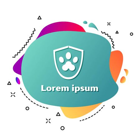 White Animal health insurance icon isolated on white background. Pet protection icon. Dog or cat paw print. Abstract banner with liquid shapes. Vector Illustration
