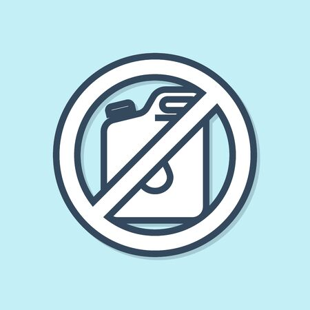 Blue line No canister for gasoline icon isolated on blue background. Diesel gas icon. Vector Illustration Ilustracja