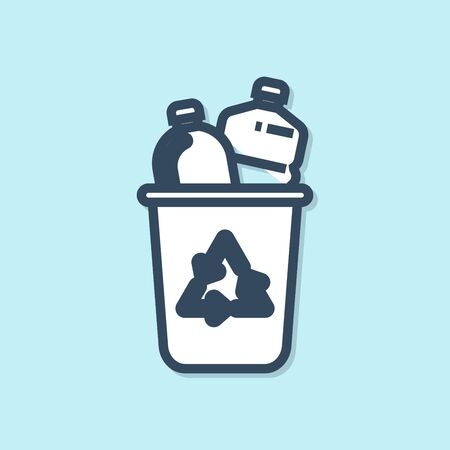 Blue line Recycle bin with recycle symbol icon isolated on blue background. Trash can icon. Garbage bin sign. Recycle basket sign. Vector Illustration