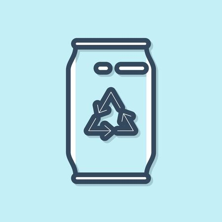 Blue line Can with recycle symbol and can icon isolated on blue background. Trash can icon. Garbage bin sign. Recycle basket sign. Vector Illustration