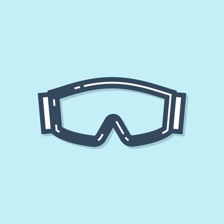 Blue line Ski goggles icon isolated on blue background. Extreme sport. Sport equipment. Vector Illustration