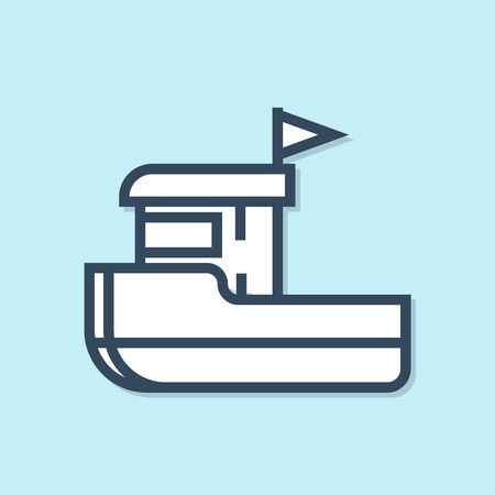 Blue line Fishing boat icon isolated on blue background. Vector Illustration Stockfoto - 134392409