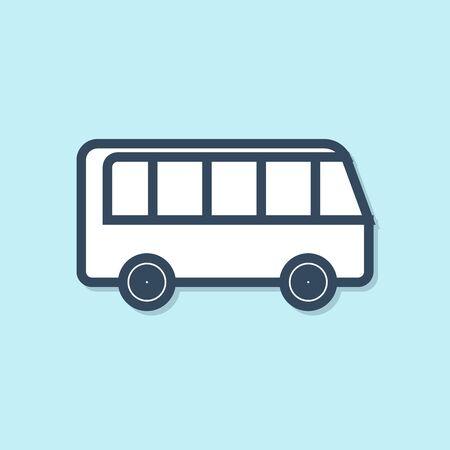 Blue line Bus icon isolated on blue background. Transportation concept. Bus tour transport sign. Tourism or public vehicle symbol. Vector Illustration