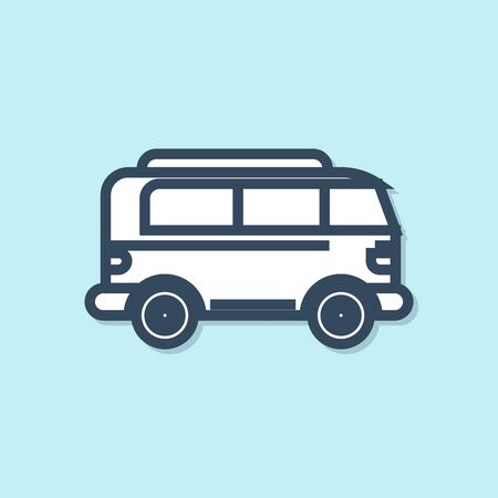 Blue line Retro minivan icon isolated on blue background. Old retro classic traveling van. Vector Illustration