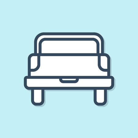 Blue line Pickup truck icon isolated on blue background. Vector Illustration