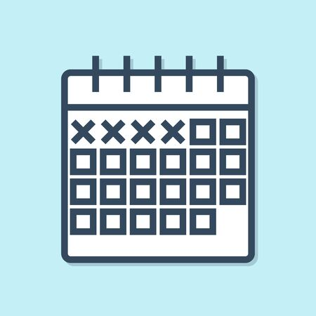 Blue line Calendar icon isolated on blue background. Vector Illustration