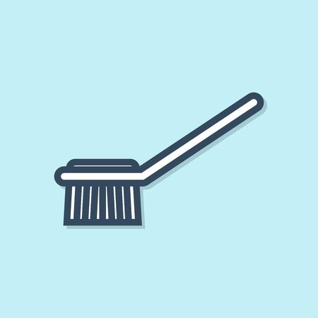 Blue line Toilet brush icon isolated on blue background. Vector Illustration Фото со стока - 134383385